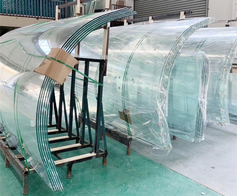 10mm transparent curved tempered glass , tempered heat soak glass, heat soak curved glass, curved toughened glass