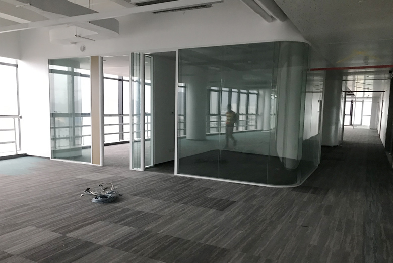 BTG new project of clear curved tempered glass partition interior