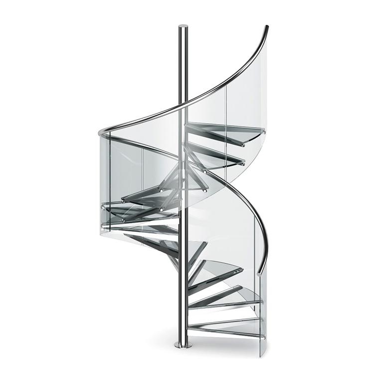 Irregular shape tempered spiral stairs