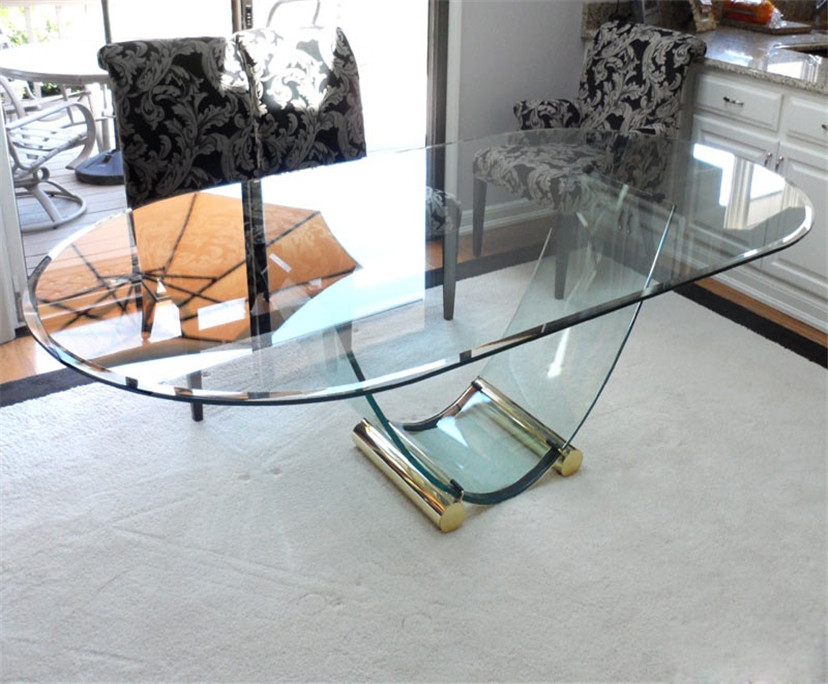 BTG Polished edge rectangle shape table top 6mm 8mm toughened glass factory price